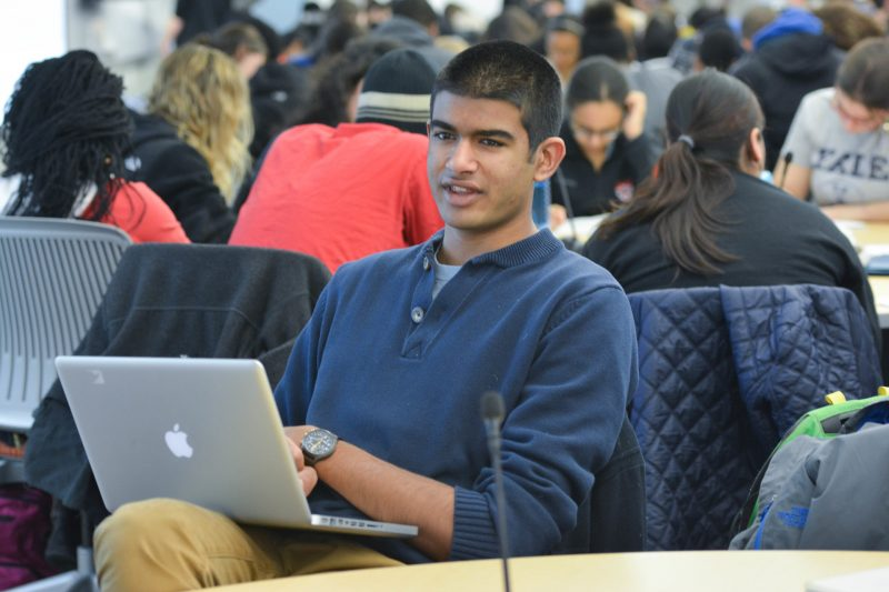 student in Technology Enabled Active Learning (TEAL) class